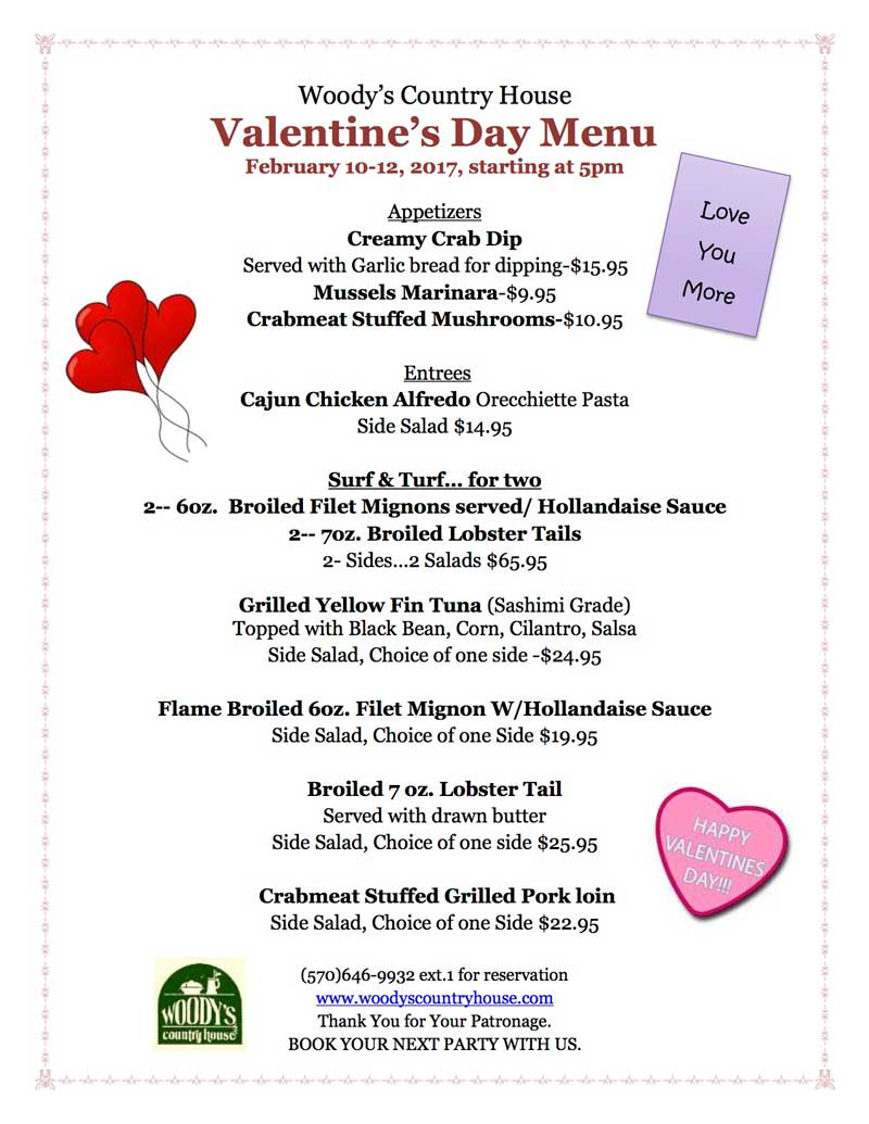 Woody's Valentines Day Menu